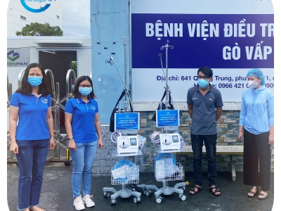 Employees of Dolphin Sea Air Services Corp. Giving Go Vap Hospital 02 Ventilators Worth 200,000,000 VND